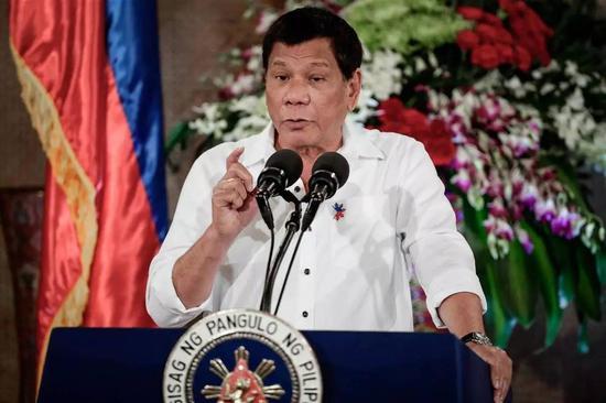 """▲7月21日,菲律宾总统杜特尔特对美国议员支持其拜访白宫的舆论予以还击,称他永久不会去美国,还说美国事一个""""厌恶的""""国度。(美国天下播送公司消息网)"""