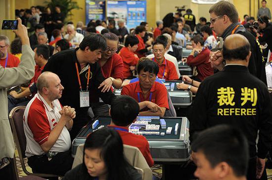"""""""第三届世界麻将锦标赛""""比赛现场。视觉中国图"""