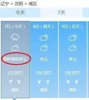 今天我大沈阳还预报有雷阵雨呢