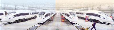 """高速动车组已成为唐山、河北乃至中国展示给世界的一张重量级""""名片""""。图为中车唐山公司列车调试车间。"""