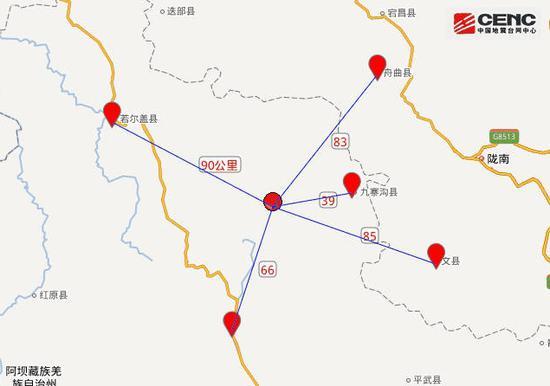 震中距离周边县城距离。