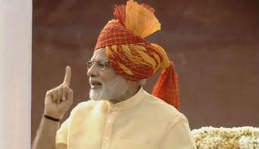 印度总理莫迪15日在新德里庆贺印度自力70周年运动上揭晓讲话。