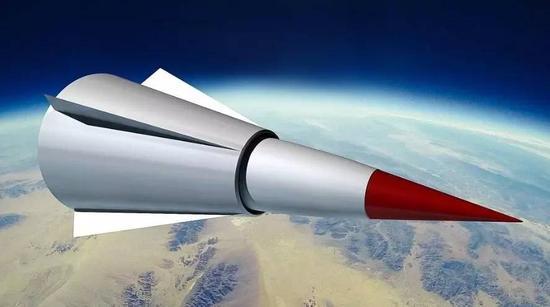 ▲网上撒播的DF-ZF高明音速滑翔航行器模拟图
