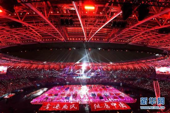 8月27日,第十三届全国运动会开幕式在天津奥林匹克中心体育场举行。这是开幕式现场。新华社记者白禹摄