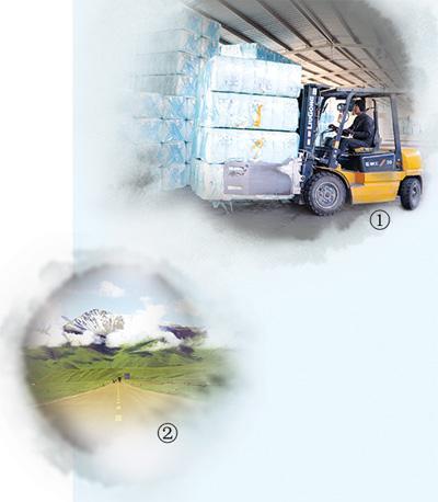图①:新疆库尔勒火车西站,事情职员在货场装运棉包。魏银和摄图  ②:新疆独库公路沿途风景。人民视觉