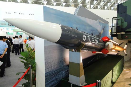 """图为台湾""""雄三""""导弹资料图。(图片来源:台媒)"""