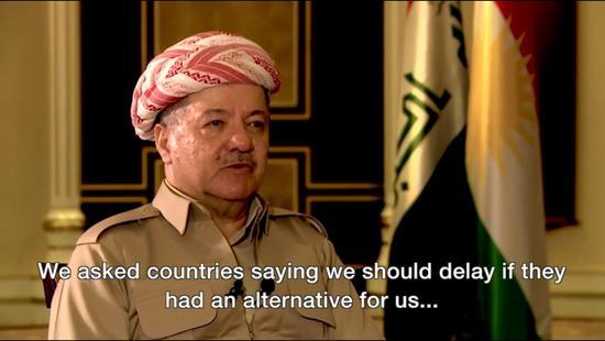 库尔德领导人接受媒体采访称,如有替代方案即可延迟公投(BBC截图)