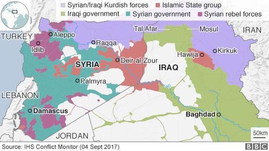 库尔德人分布区域(图源:BBC)