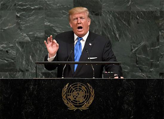 当地时间2017年9月19日,美国总统特朗普在联合国发表演讲。 视觉中国 图