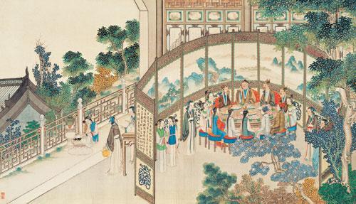 中秋节团圆吃月饼(《全本红楼梦》)