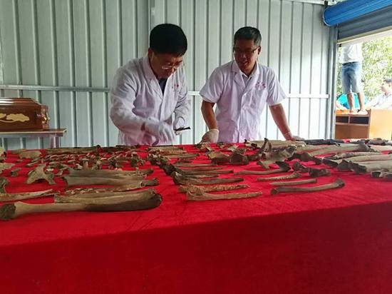 打捞上来的人体遗骸可确定遗骸20余具,均为男性,年龄在15-25岁之间 李法军供图