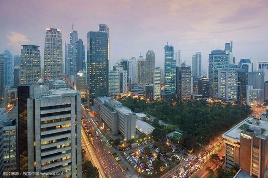 菲律宾马尼拉市马卡蒂地区。(资料图)