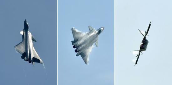 ▲资料图片:2016年11月1日,参加第十一届中国航展的歼-20飞机进行飞行展示(拼版照片),这是中国自主研制的新一代隐身战斗机首次公开亮相。
