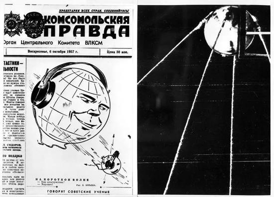 """▲1957年10月6日,在""""斯普特尼克""""号卫星发射升空两天后,苏联《共青团真理报》的头版刊发了相关报道(图左)。(《纽约时报》)"""