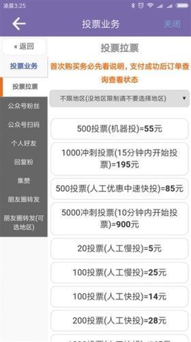 一款刷票APP的业务页面,按投票数量、投票方式、投票快慢、投票时间等明码标价。