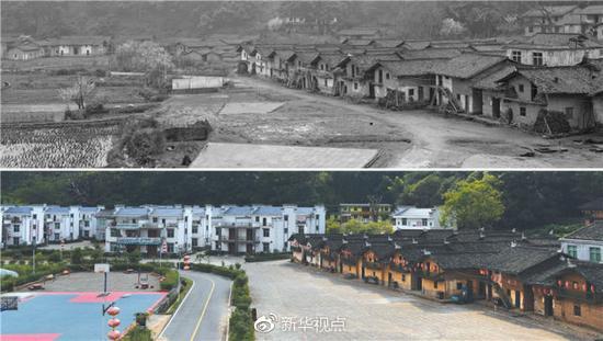 改造前(资料图片2012年)和改造后的华屋村(2017年8月17日)新华社记者万象摄