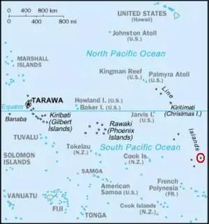 ▲加罗林群岛所在位置示意图(维基百科)
