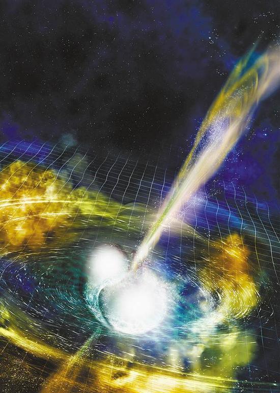 """△由美国国家科学基金会、美国""""激光干涉引力波天文台""""、索诺玛州立大学和A.Simonnet提供的效果图显示的是两个合并中的中子星。新华社发"""