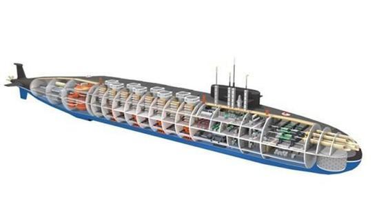 网传印度第二艘国产核潜艇透视图。