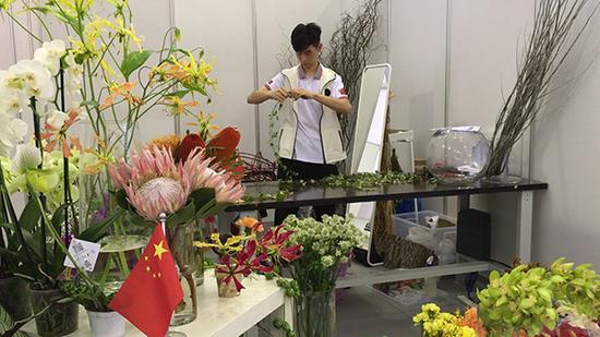潘沈涵在比赛中。澎湃新闻记者 忻勤 桑文浩 图
