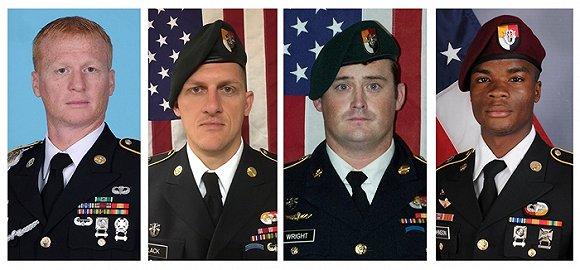 在尼日尔丧生的四名美国士兵。图片来源:视觉中国