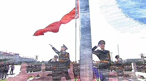 中国人民武装警察部队北京总队天安门支队国旗护卫队正在执行升国旗任务。资料图