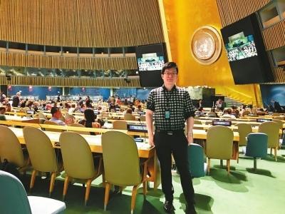 刘敬德在联合国会议现场。受访者供图