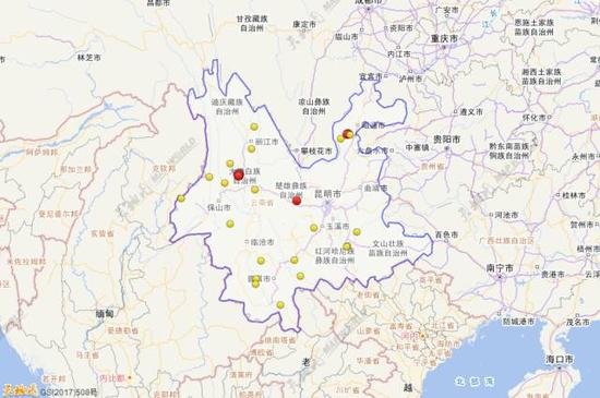 2017年1月1日到10月31日云南三级地动运动散布图(四级以上白色标注)