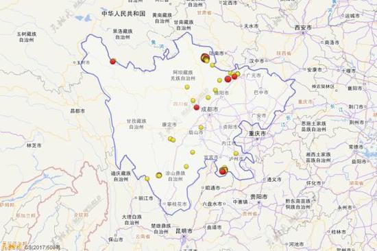 2017年1月1日到10月31日四川三级地动运动散布图(四级以上白色标注)