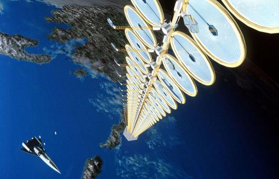 ▲空间太阳能电站概念图(NASA)
