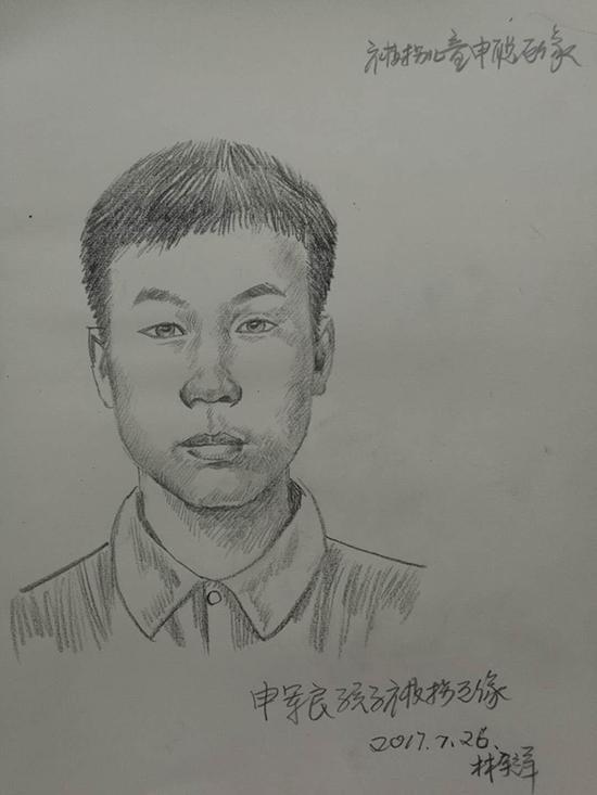 刑侦模拟画像专家林宇辉为聪聪画的第一张模拟画像。 受访者 供图