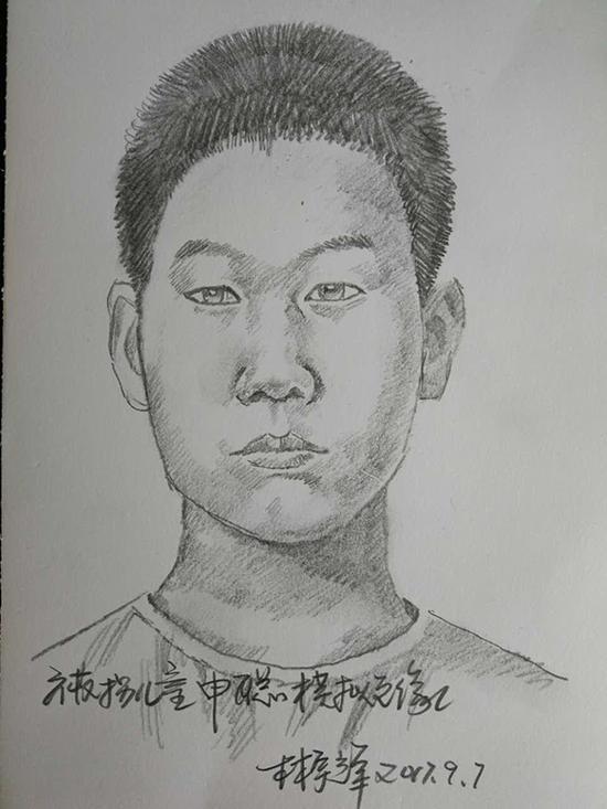 刑侦模拟画像专家林宇辉为聪聪画的第二张模拟画像。 受访者 供图