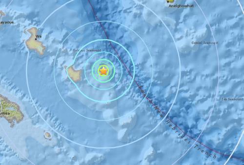 南太平洋法属新喀里多尼亚以东海域发生5.5级地震。(图片来源:美国地质勘探局网站)