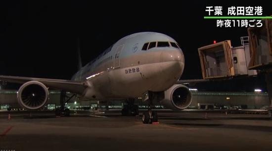 大韩航空客机(图源:日本NHK新闻)