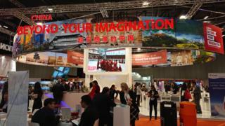 2017世界旅游交易会(WTM)中国展区。(BBC)
