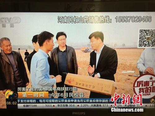 河南省民权县县长张团结通过CCTV2为民权山药代言。