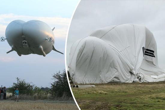 """世界最大飞行器""""瘪了"""" 试飞时坠毁气体泄漏"""