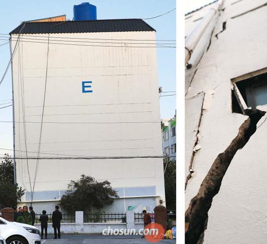 """韩国震区一公寓成""""楼歪歪"""",外墙缝隙可伸手进入"""