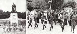 △迟浩田上将率领中国高级军事代表团全体成员凭吊