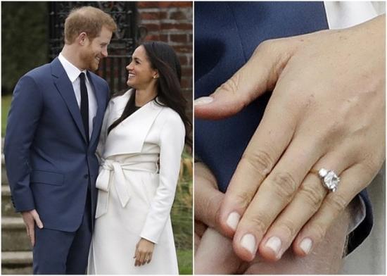 梅根手上的订婚戒指镶有戴妃的钻石。