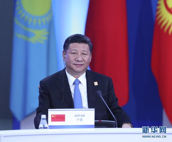 2017年6月9日,国家主席习近平在哈萨克斯坦首都阿斯塔纳到会上海协作安排成员国首脑理事会第十七次会议并宣布重要讲话。(图片来自:新华网)