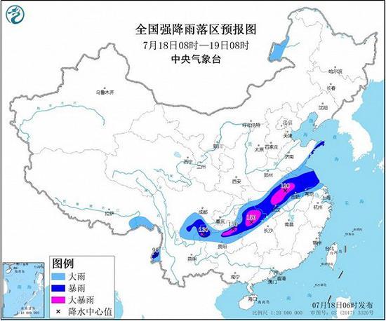 中央气象台继续发布暴雨黄色预警:安徽、湖北等地局地有大暴雨图片