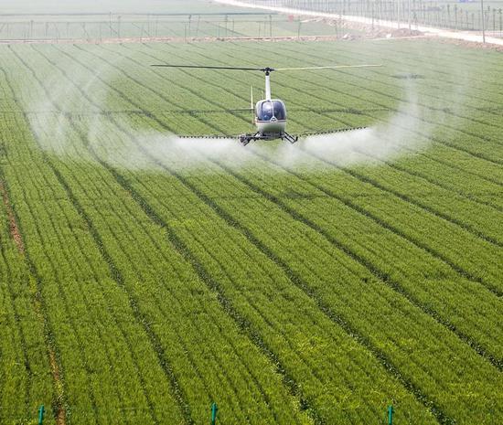 """河北,曲降飞机正正在给小麦停止""""一喷三防"""",图片滥觞@VCG"""