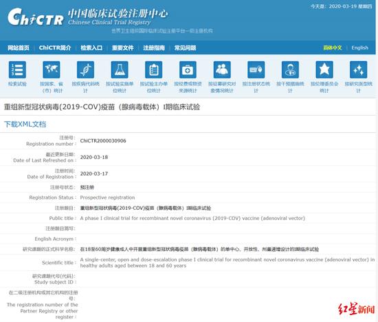 ▲陈薇团队重组新冠疫苗临床试验注册