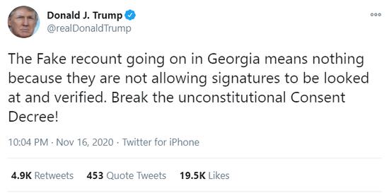 """特朗普发推:佐治亚州重新计票""""虚假且毫无意义"""""""