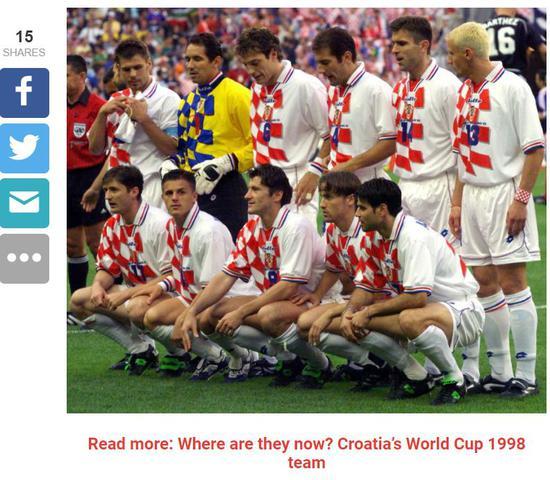 ▲1998年克罗地亚队红白格子衫