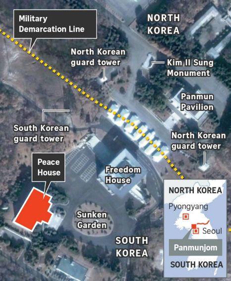 """红色区为此次会晤的韩方""""和平之家"""" (图 路透社)"""