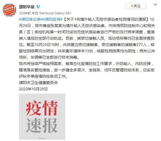 河南濮阳无症状病例共排查岀277名密接者 核酸检测结果均为阴性图片
