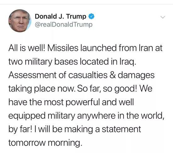 """伊朗反击后,特朗普发推说:""""一切都很好。"""""""