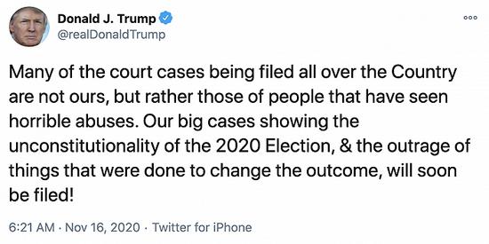 """特朗普:很快会提起""""大规模诉讼""""挑战选举结果"""